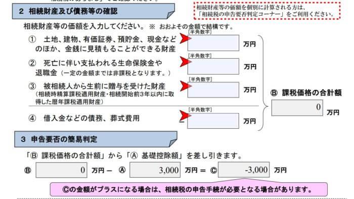 相続税申告要否の簡易判定シート(一部抜粋)